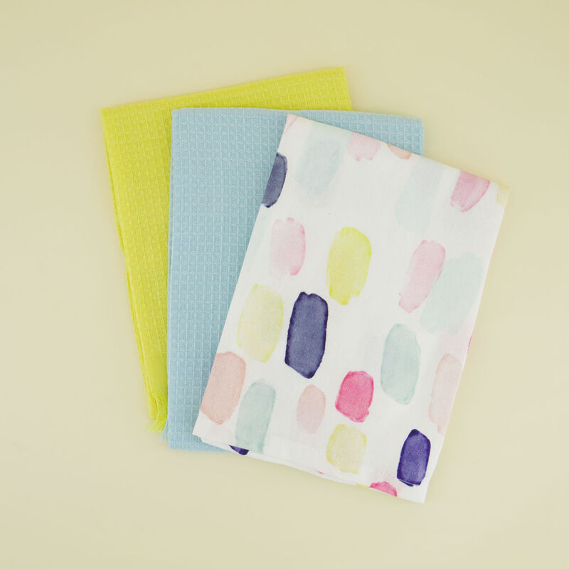 3-pack Multicoloured Dash and Waffle Tea Towels -  assorted
