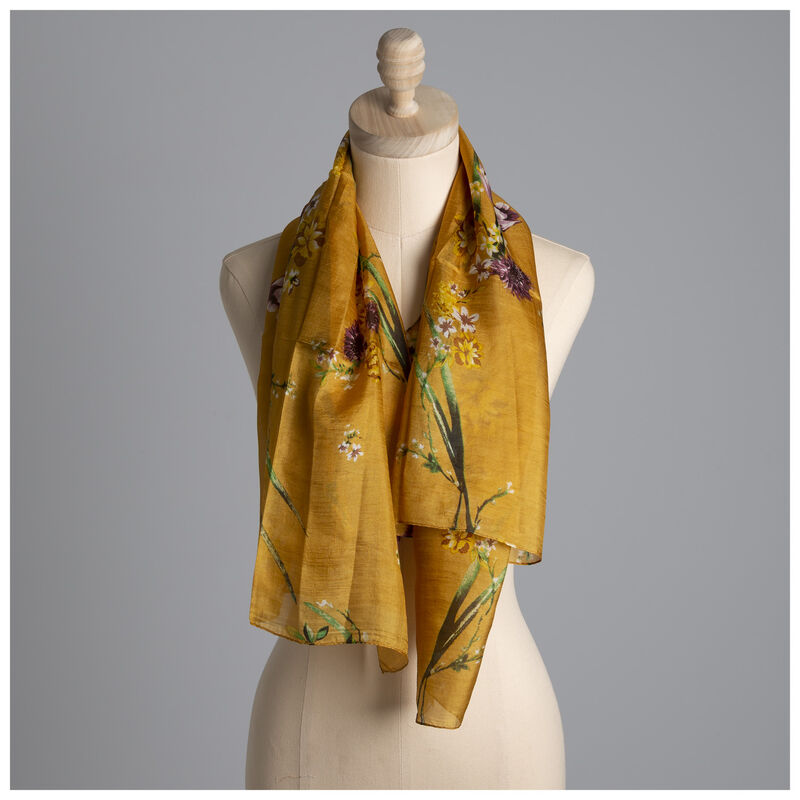 Hadley Floral Silk Scarf -  yellow-assorted