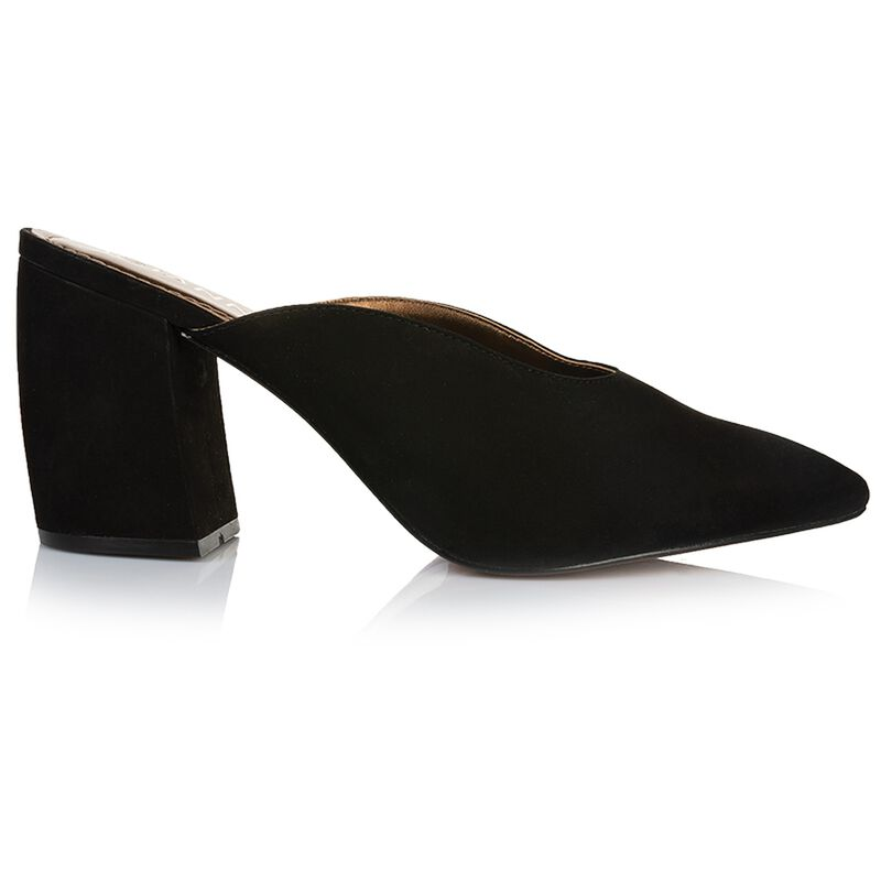 GIANNA Curved Block Mule -  black