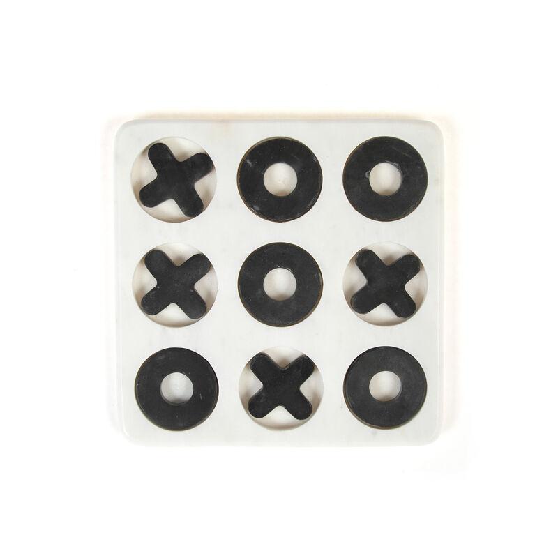 Black & White Marble Tic Tac Toe Set -  black-white