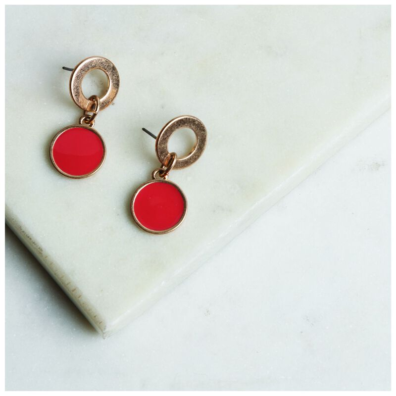 Epoxy Round Drop Earrings -  gold-coral