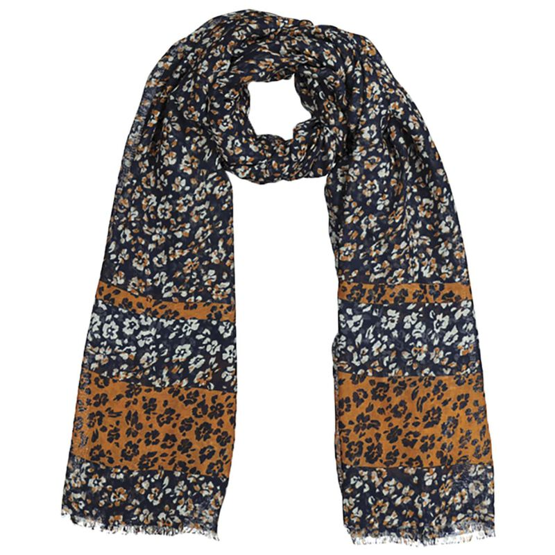 Jennifer Floral & Leopard Scarf -  navy-assorted