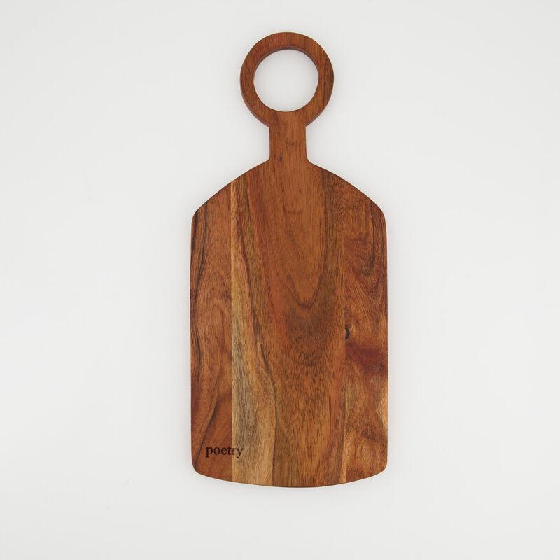 Ring Handle Acacia Wood Board -  brown