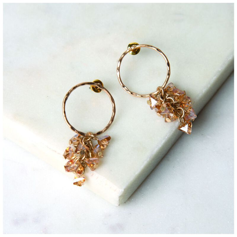 Circle & Clustered Stone Drop Earrings -  gold-nude
