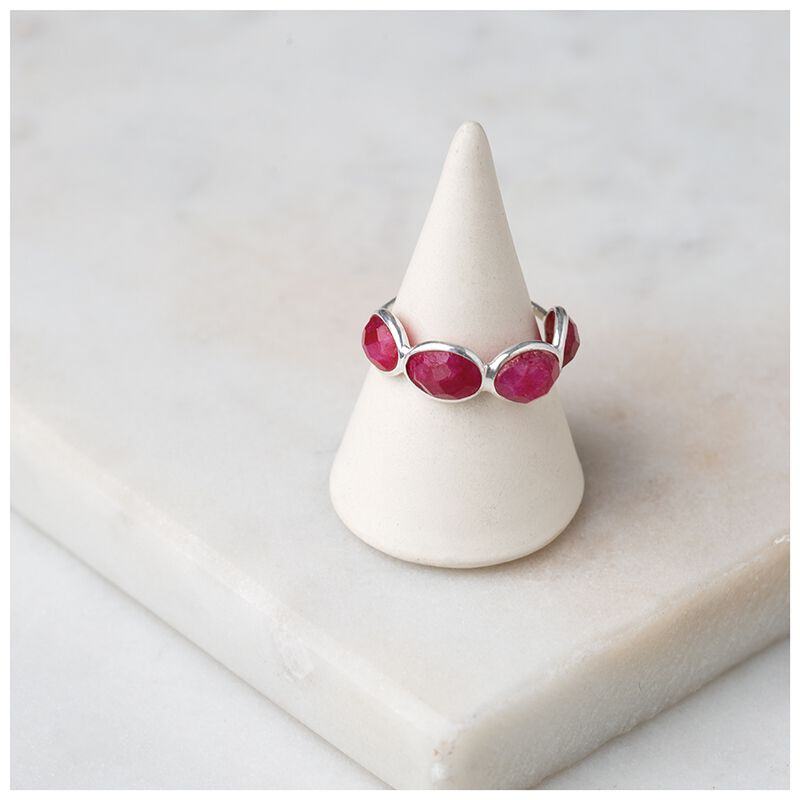 Ruby Stone & Sterling Silver Ring -  silver-red