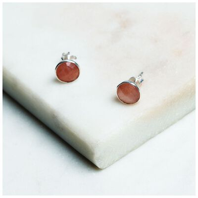 Peach Moonstone Stud Earrings