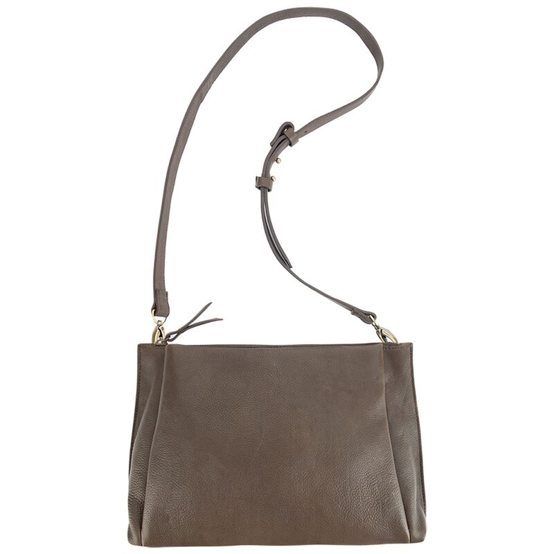 Arden Pleated Leather Med Cross Body Bag -  brown