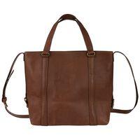 Luz Leather Stitched Band Shopper Bag -  tan
