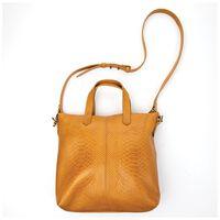 Colene Small Shopper Leather Snakeskin Bag -  ochre