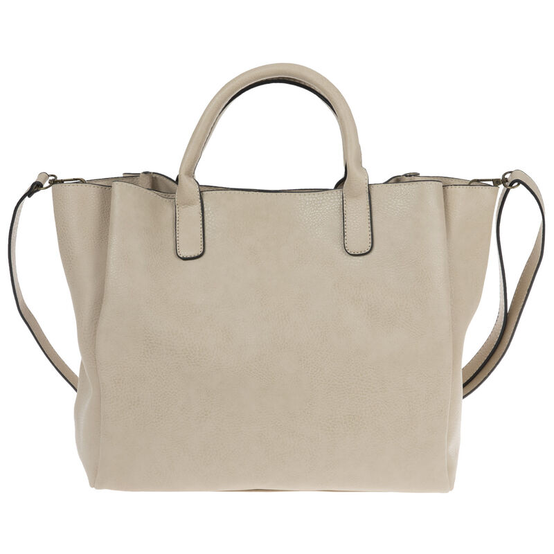 Clementine Vegan Leather Shopper Bag -  taupe-red