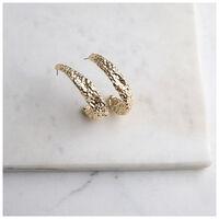 Organic Half Hoop Earrings -  gold