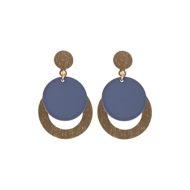 Circular Layered Drop Earrings -  gold-navy