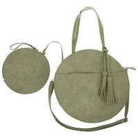 Angelina Vegan Leather Round Bag -  sage