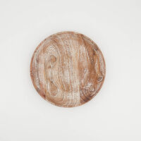 Light Wash Wooden Plate -  brown