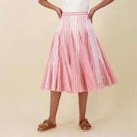 Brexley Stripe Skirt -  red