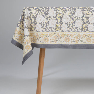Grey and Ochre Tablecloth