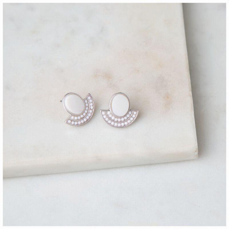 Shell & Bead Fan Stud Earrings -  silver-milk