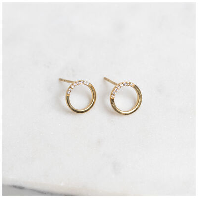 Gold-Plated Silver Pave Circle Stud Earrings