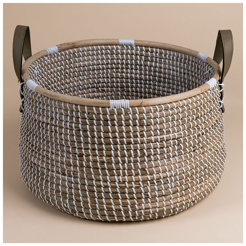 Large White Natural Seagrass Basket -  nude-white