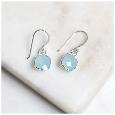 Silver & Aqua Chalcedony Cushion Drop Earrings