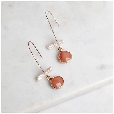 Freshwater Pearl & Stone Hook Earrings