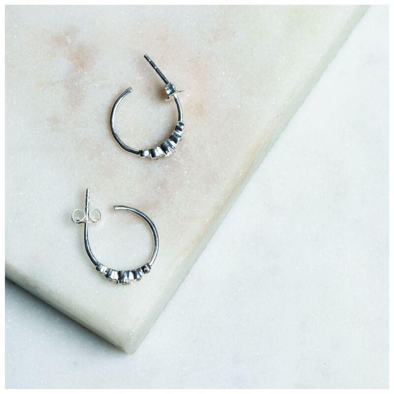Crystal Cluster and Silver Hoop Earrings -  silver
