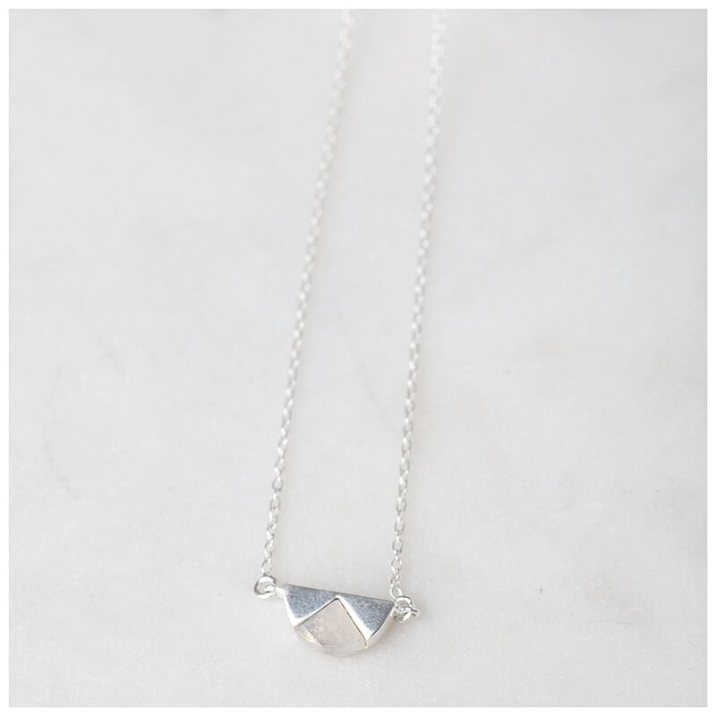 Moonstone & Sterling Silver Halfmoon Necklace -  white