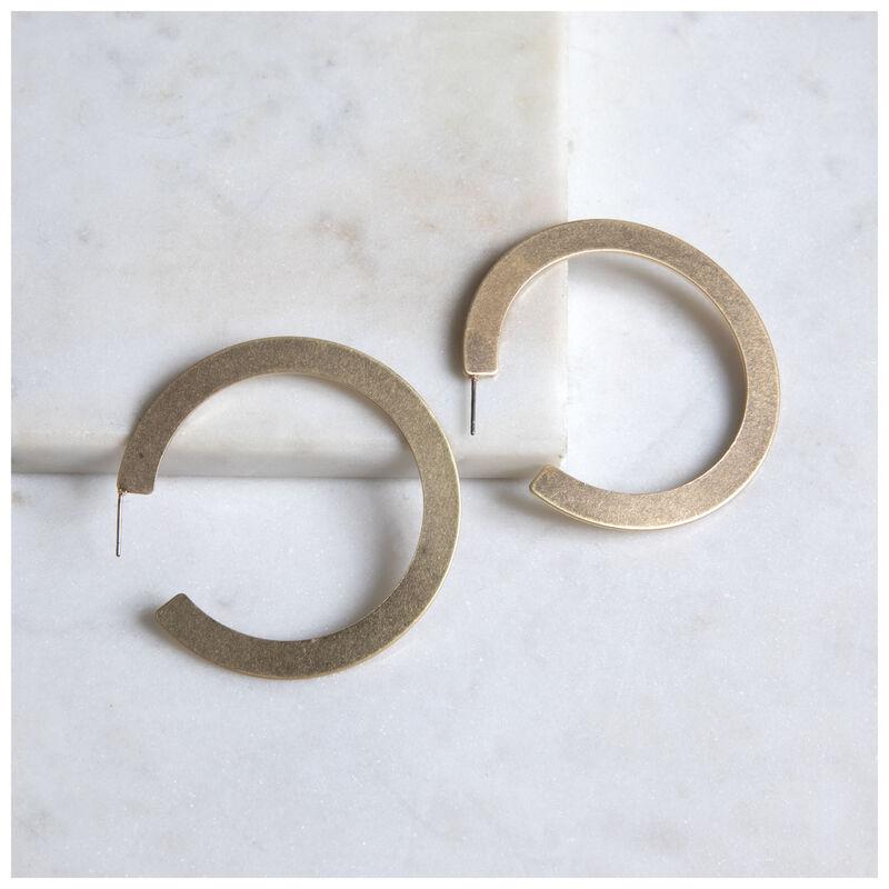 Flat Metal Hoop Earrings -  gold