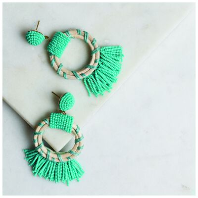 Seagrass & Bead Tassel Earrings