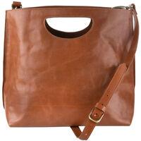 Sarai Cut out Handle Leather Bag -  tan