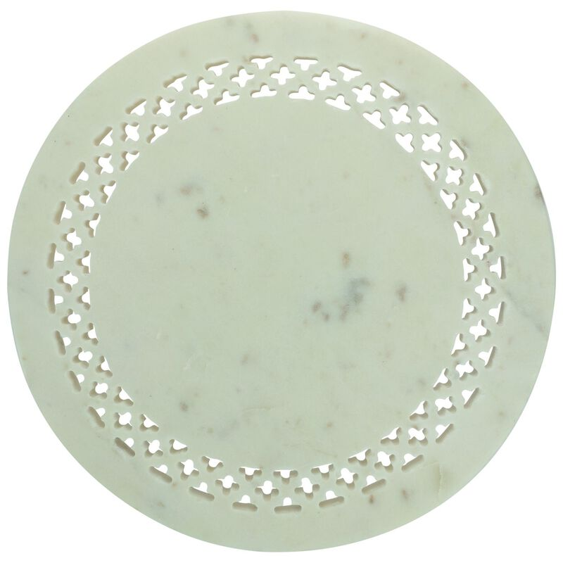 Marble Cut-Out Cake Stand -  white-gold