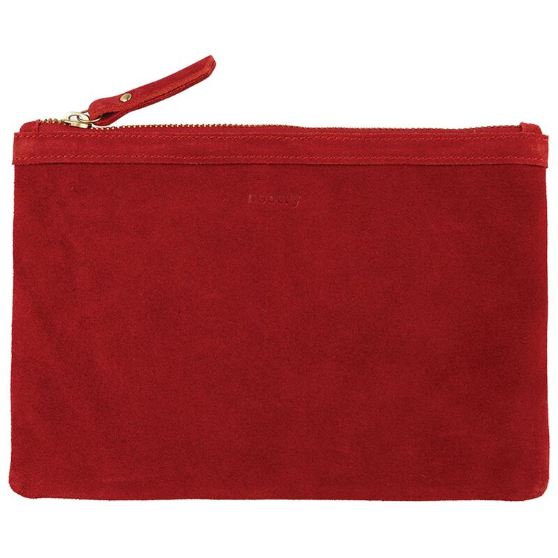 Taylor Suede Pouch -  red