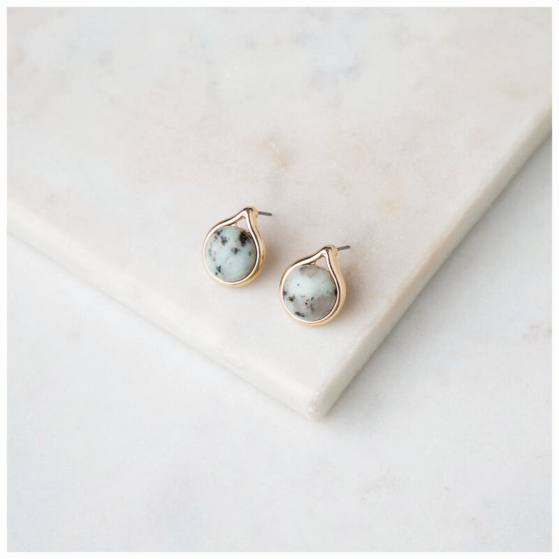 Domed Dalmation Stone Stud Earrings -  gold-grey