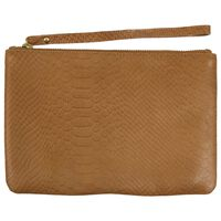 Guiliana Leather Pouch -  ochre-brown