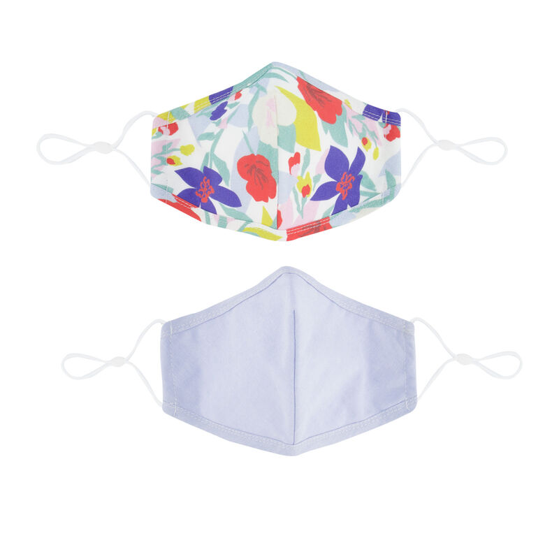 2-Pack Floral Printed Fabric Face Masks -  milk-assorted