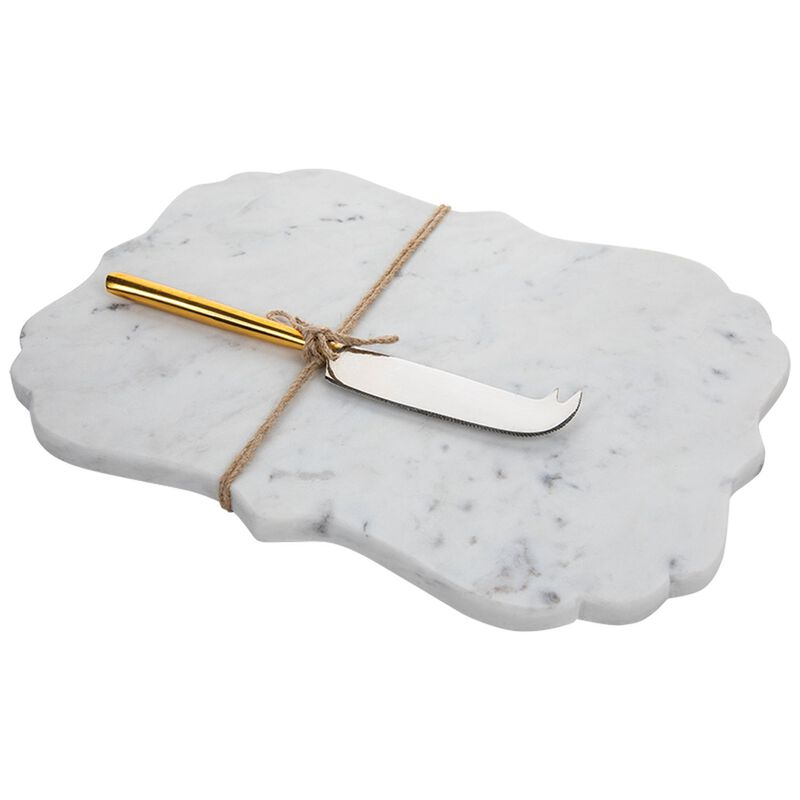 White Scalloped Marble Board and Cheese Knife -  white