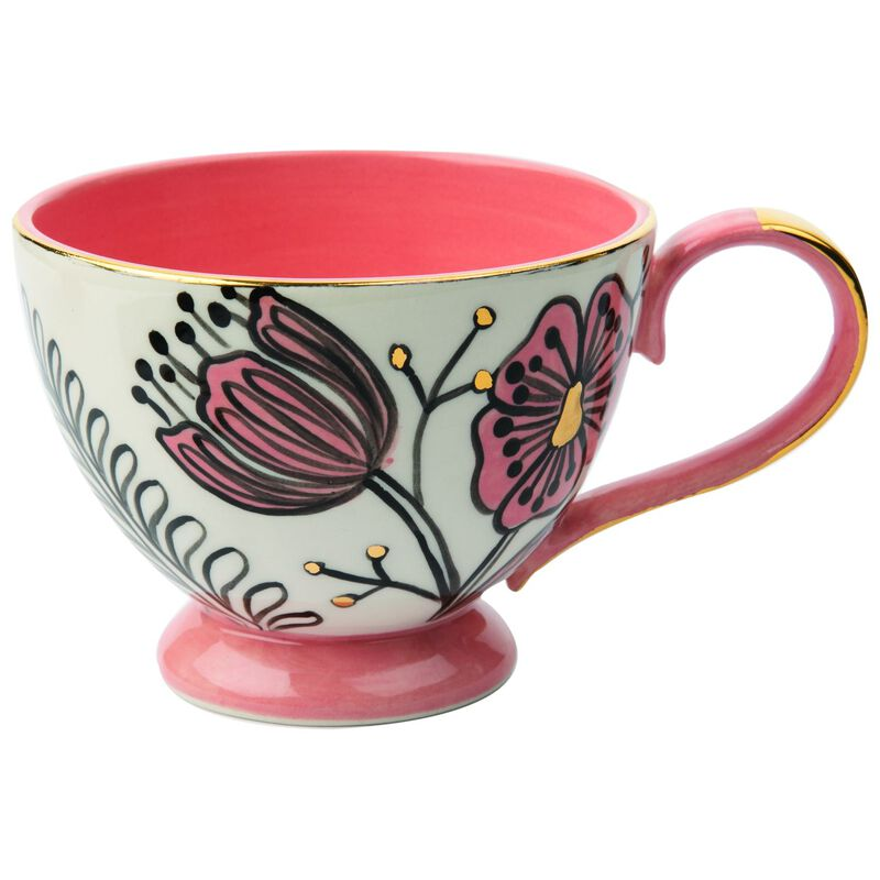 Kapula White and Gold Bloom Mug -  white-pink