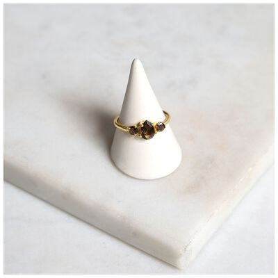 Smokey Quartz & Gold Trilogy Set Ring