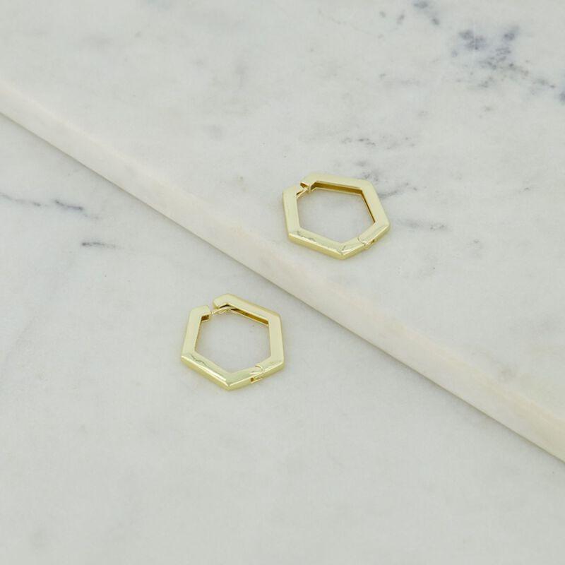 Solid Hexagonal Hoop Earrings -  dc9300