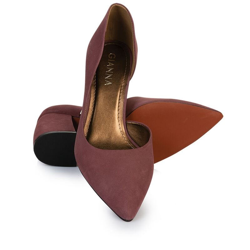 GIANNA Curved Block Heel -  mauve