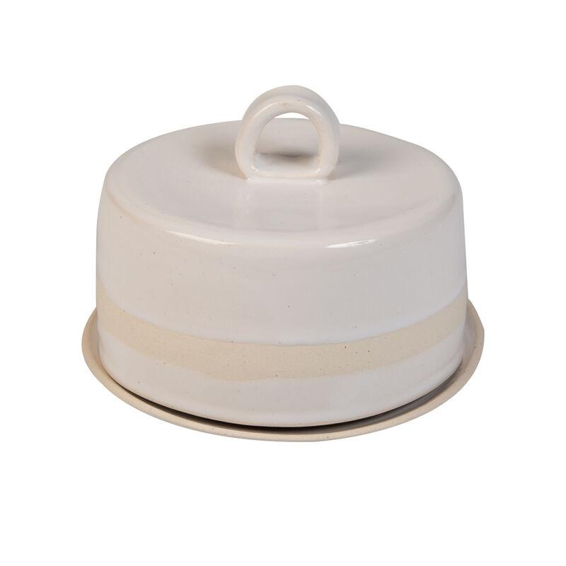 Wonki Ware Striped Butter Dish -  white-cream