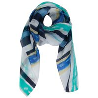 Saoirse Silk Abstract Scarf -  blue-milk