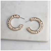 Side Detail Hoop Earrings -  sage-gold