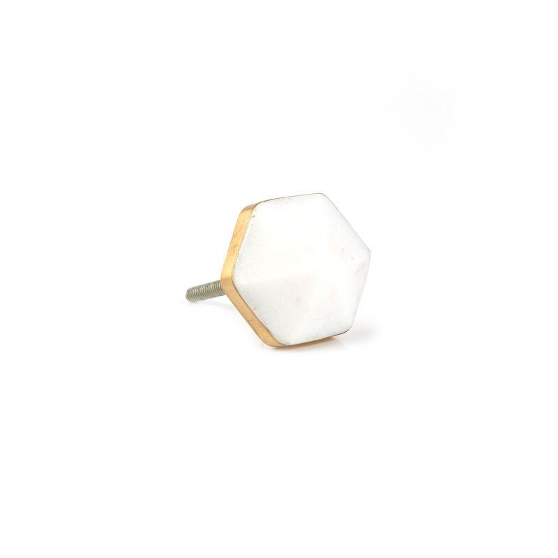 White Hexagon Stone Knob -  white-gold