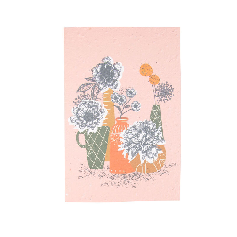 Growing Paper Still Life Vases Card -  assorted