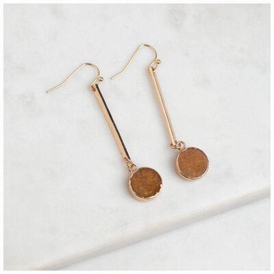 Real Stone & Bar Drop Earrings