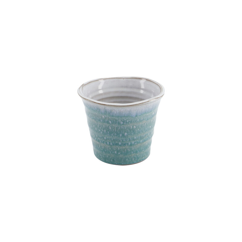 Small Blue Mottled Planter -  blue