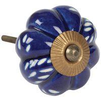 Blue Engraved Melon Knob -  blue
