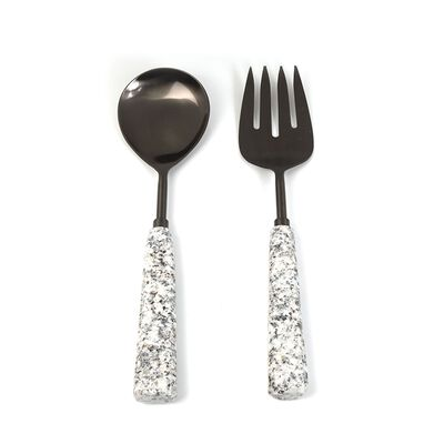Grey Marble Salad Server Set