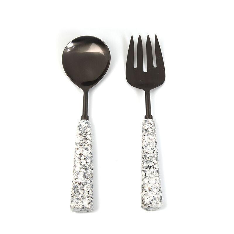 Grey Marble Salad Server Set -  grey-silver